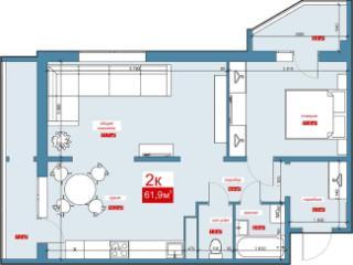 Продажа квартир: 2-комнатная квартира в новостройке, Барнаул, Взлетная ул., 91, фото 1
