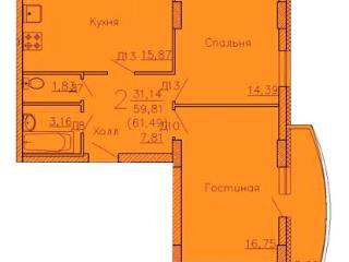 Продажа квартир: 2-комнатная квартира, Воронеж, Ленинский пр-кт, 124, фото 1
